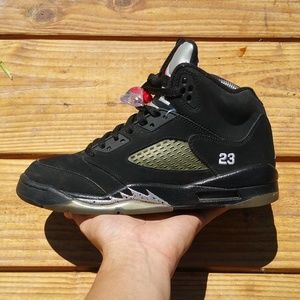 2011 Nike Air Jordan 5 V Retro Black Metallic Shoe